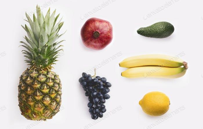 Fruits Collage auf weiß