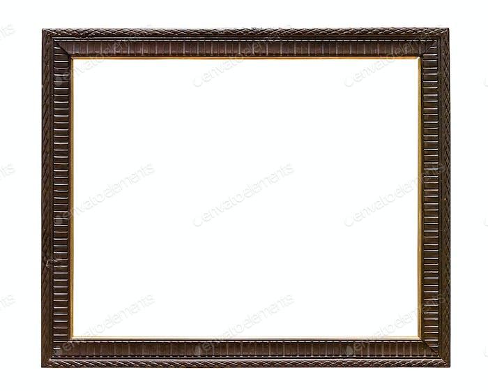 Dark wooden decorative picture frame on white backround