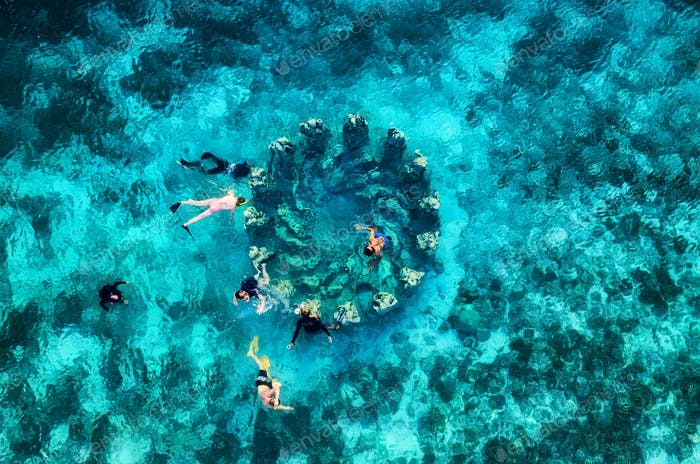 Famous place for a daving, Gili Meno island, Indonesia. Aerial seascape