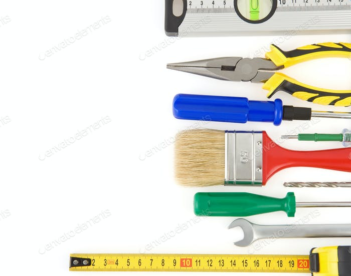 Thumbnail for Satz von Werkzeugen und Instrumenten isoliert auf weiß
