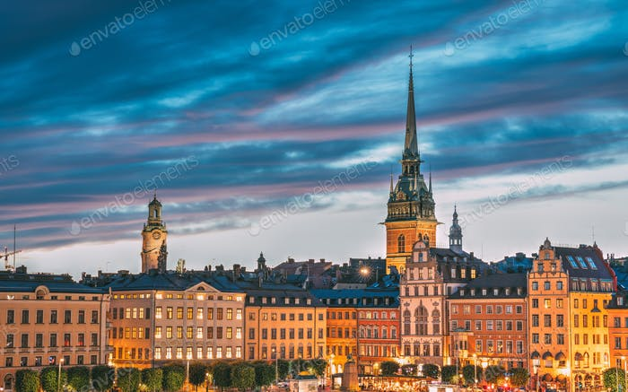 Stockholm, Sweden. Scenic View Of Skyline At Evening Night. Towe