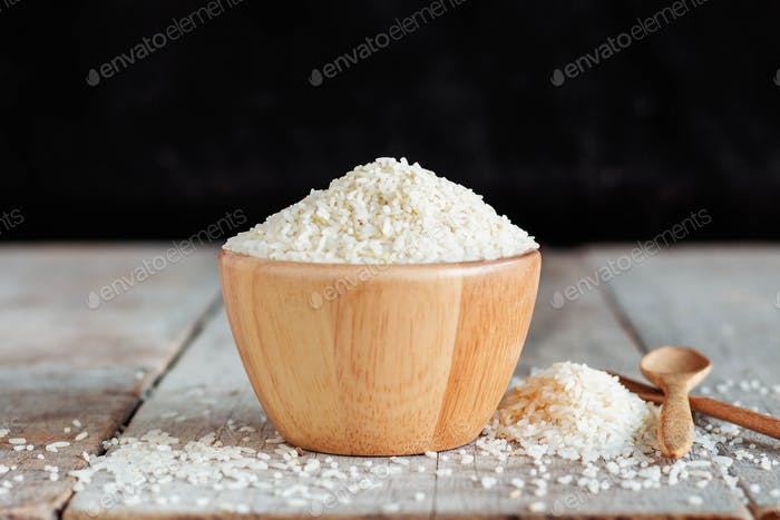 Rice bowl with black background