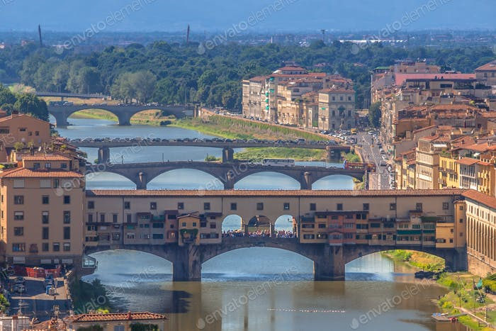 Ponte Vecchio Bridge over the river Arno in Florence