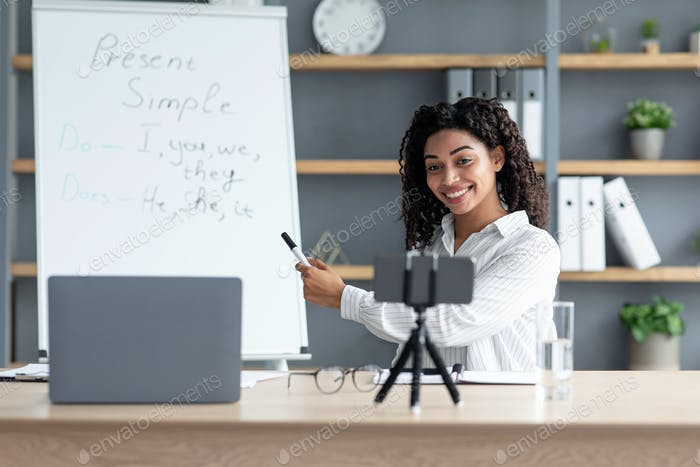 Education, distance online class, video chat and learning at home