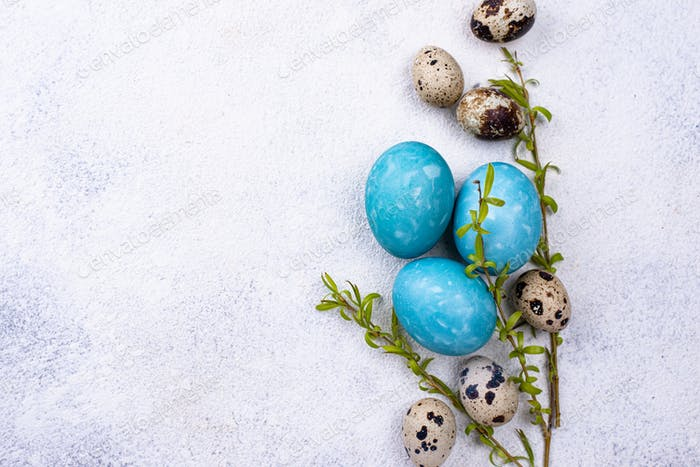 Easter eggs in blue color