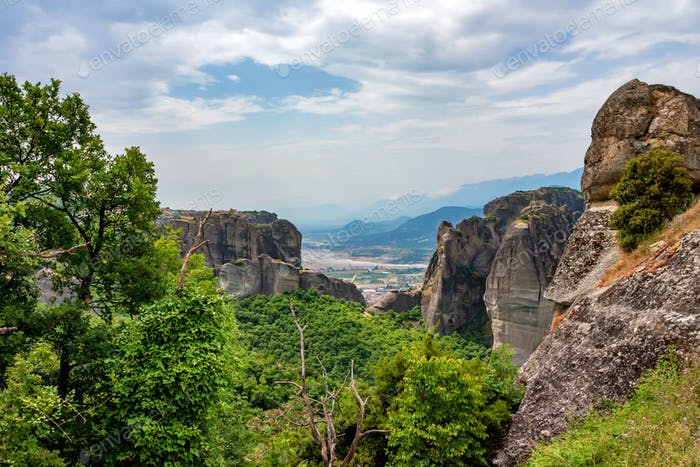 Scenic view of Thessaly valley in Meteora, Greece
