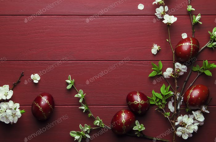 Easter red wood background