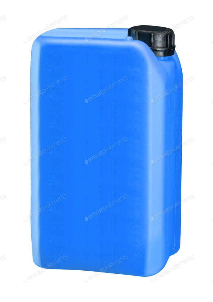 blue plastic oil can isolated on white