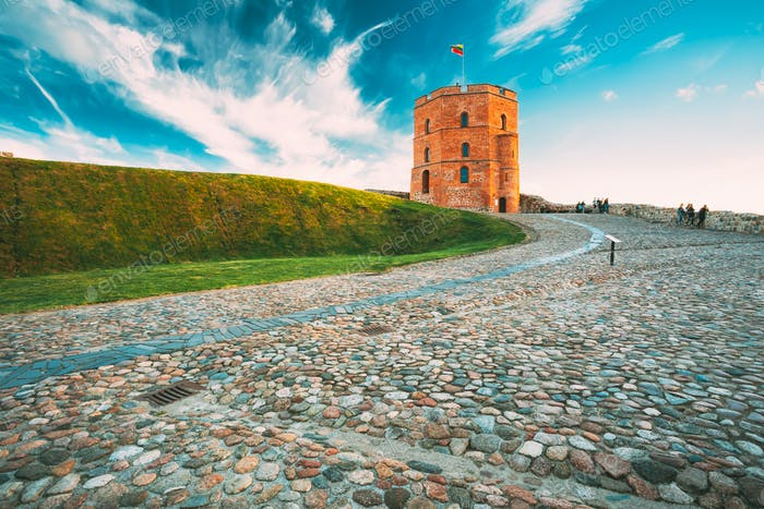 Vilnius, Lithuania. Cobblestone Road To Famous Tower Of Gediminas Or Gedimino In Historic Center