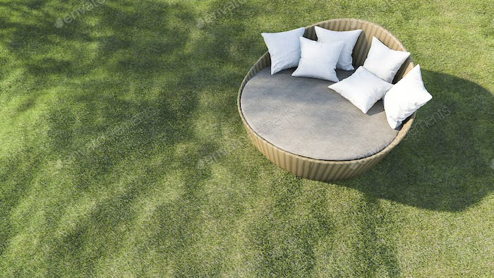 3d rendering round outdoor sofa in the grass field
