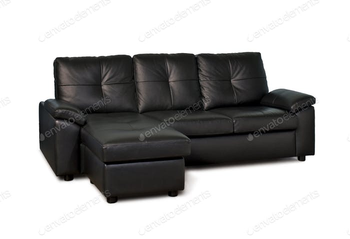 Black  Leather Sofa Three Seater Facing Right
