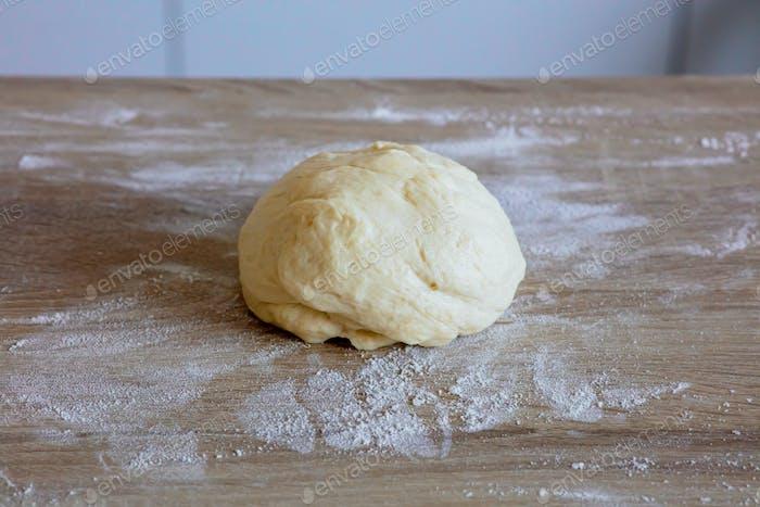 fresh raw yeast dough