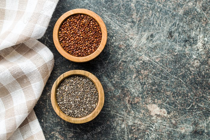 Red quinoa and chia seeds.