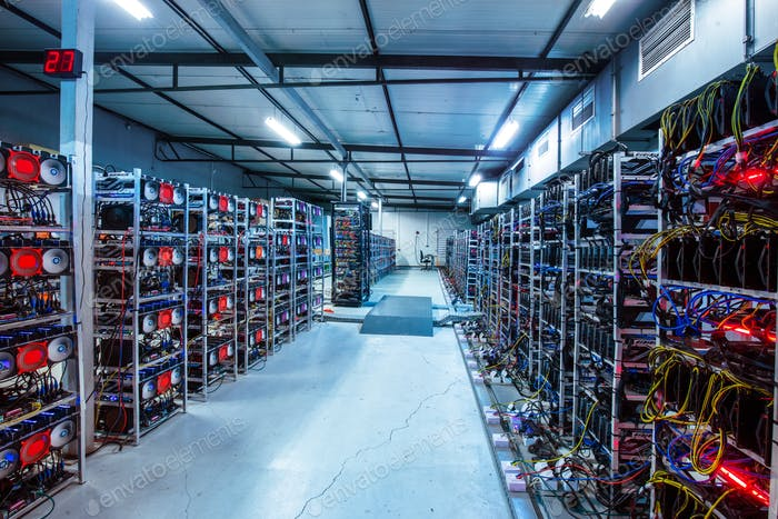 Bitcoin and crypto mining farm. Big data center.
