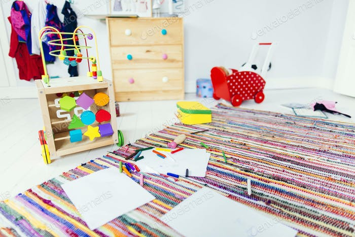 Drawing products and toys in child's room