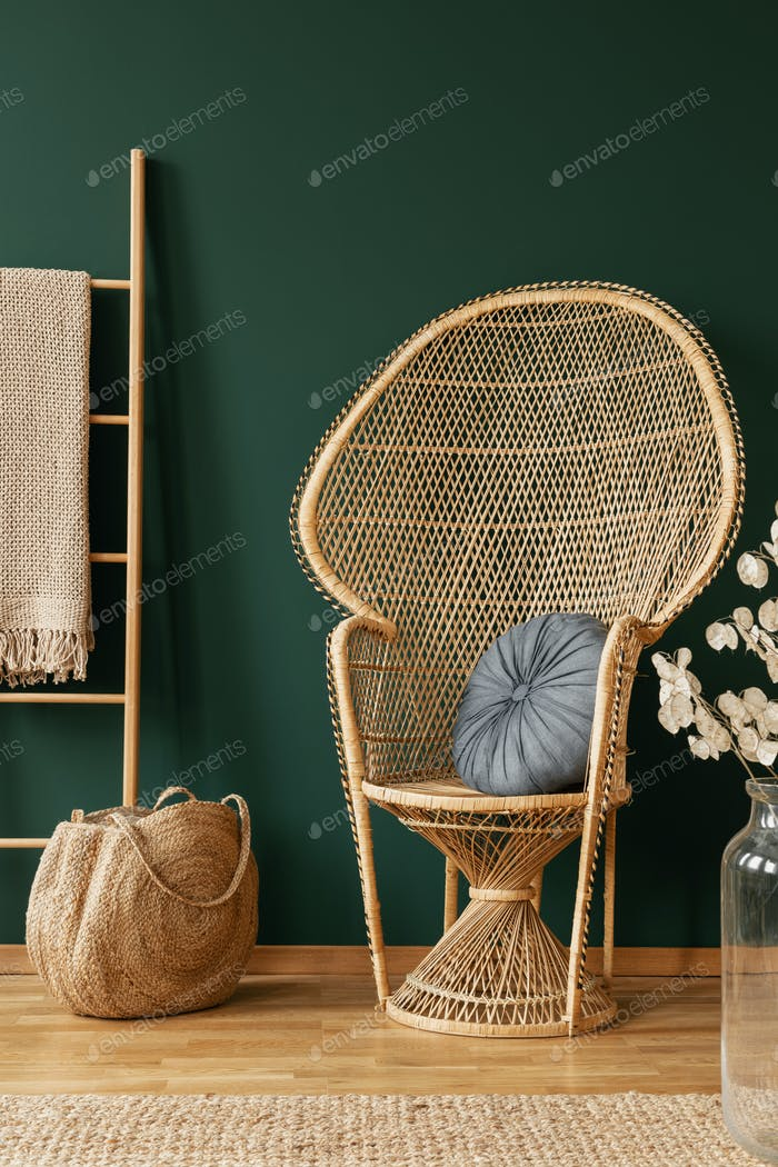 Rattan chair next to bag and ladder in green living room interior with flowers and rug. Real photo