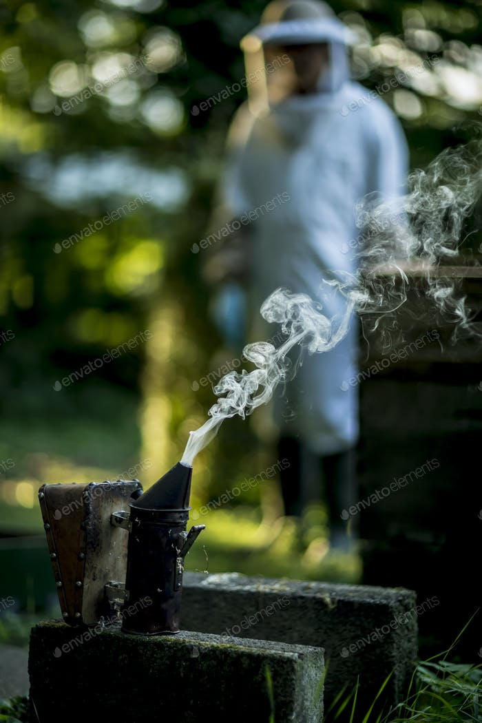 A beehive smoker and a plume of smoke with a beekeeper wearing a veil standing behind.