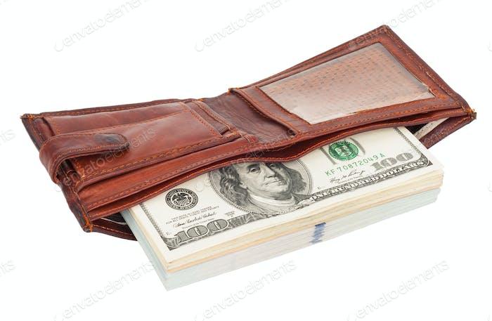 Geldbörse mit Dollar