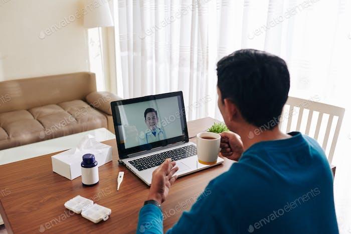Ill man video calling doctor