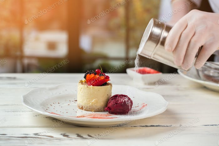 Small cake on white plate