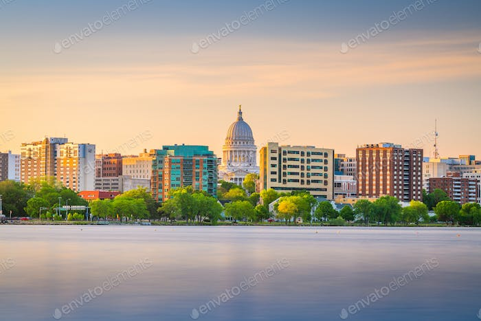 Madison, Wisconsin, USA downtown skyline