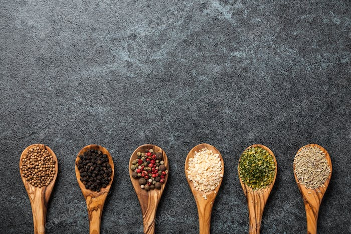 Cooking background with various spices