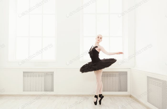 Beautiful graceful ballerina in black swan dress