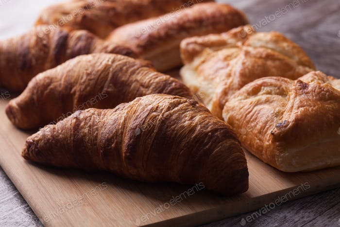 Assortment of french pastries on cutting board