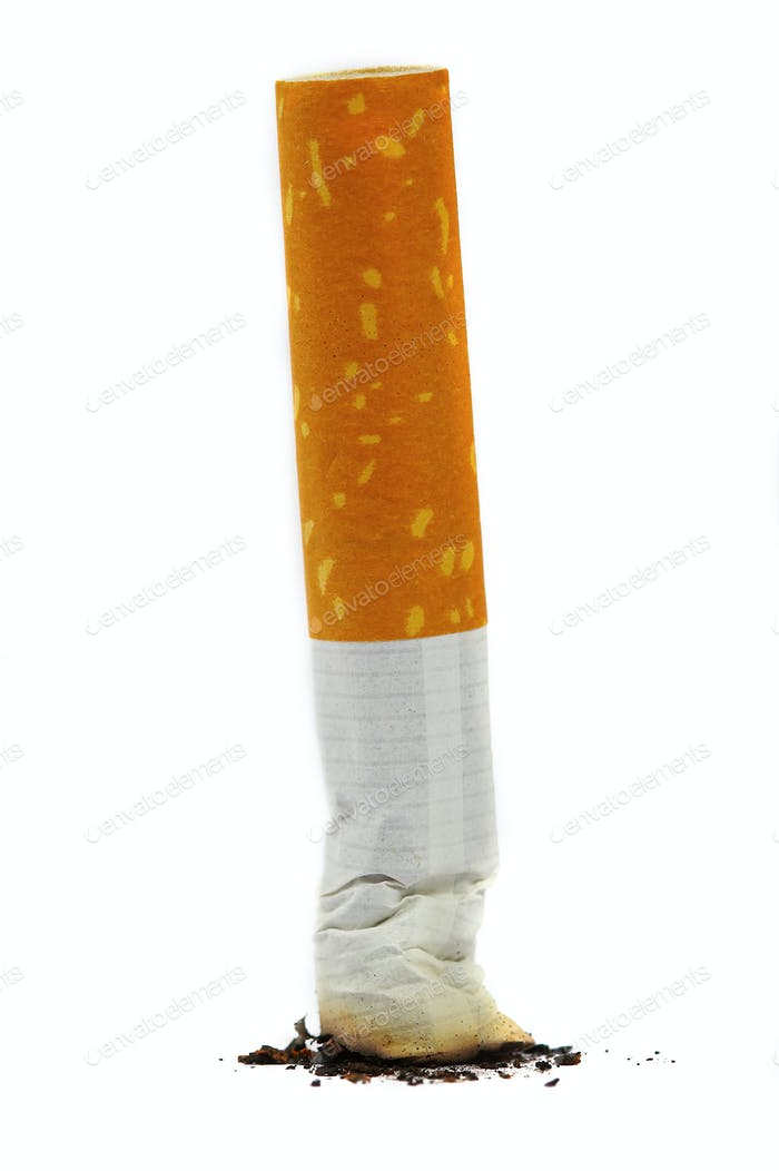 The extinguished stub of a cigarette. A bad habit.
