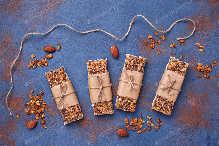 Homemade granola bars with nuts.