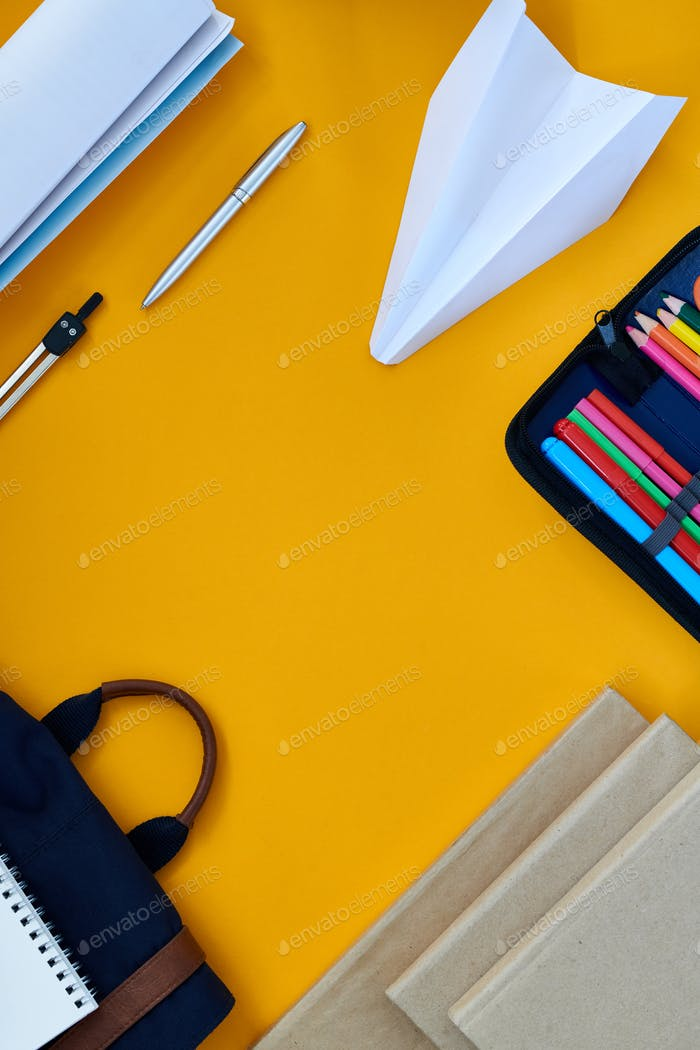 Yellow Background with office Supplies