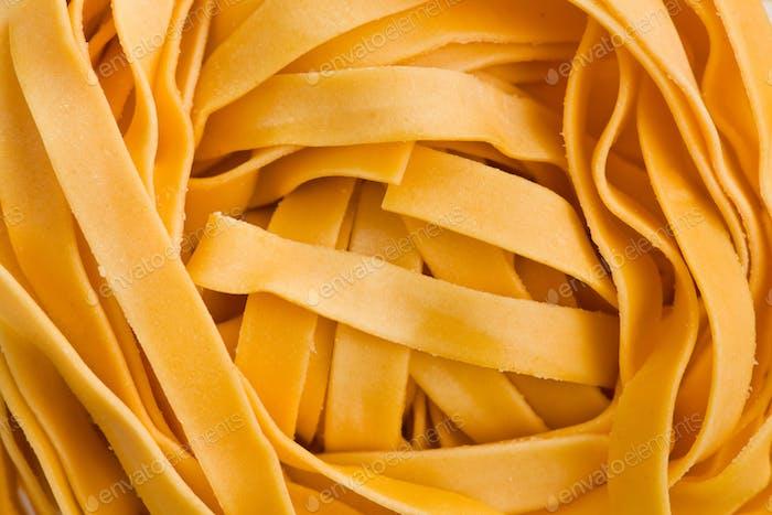 macro shot of pasta tagliatelle