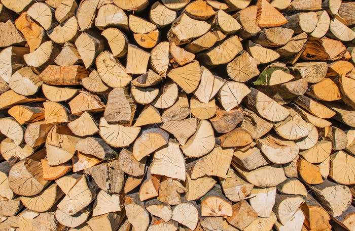 Bundle of Firewood Closeup