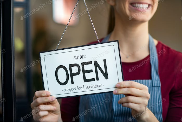 Open sign in a small business shop
