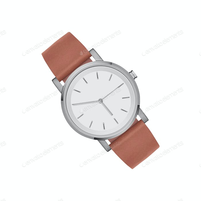 leather expensive and modern watch isolated