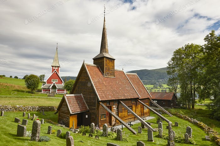 Traditional norwegian stave church. Rodven. Travel Norway. Tourism background