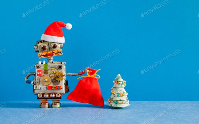 Christmas New Year card template. Robot Santa Claus with bright red hat and big bag