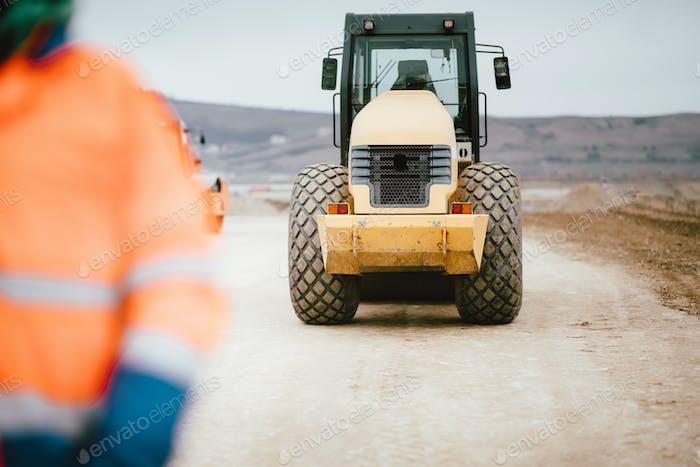 Autobahn und Straße Baustelle Details - Tandem-Vibrationsmaschinen