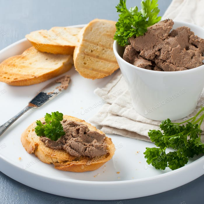 Healthy chicken liver pate with parsley