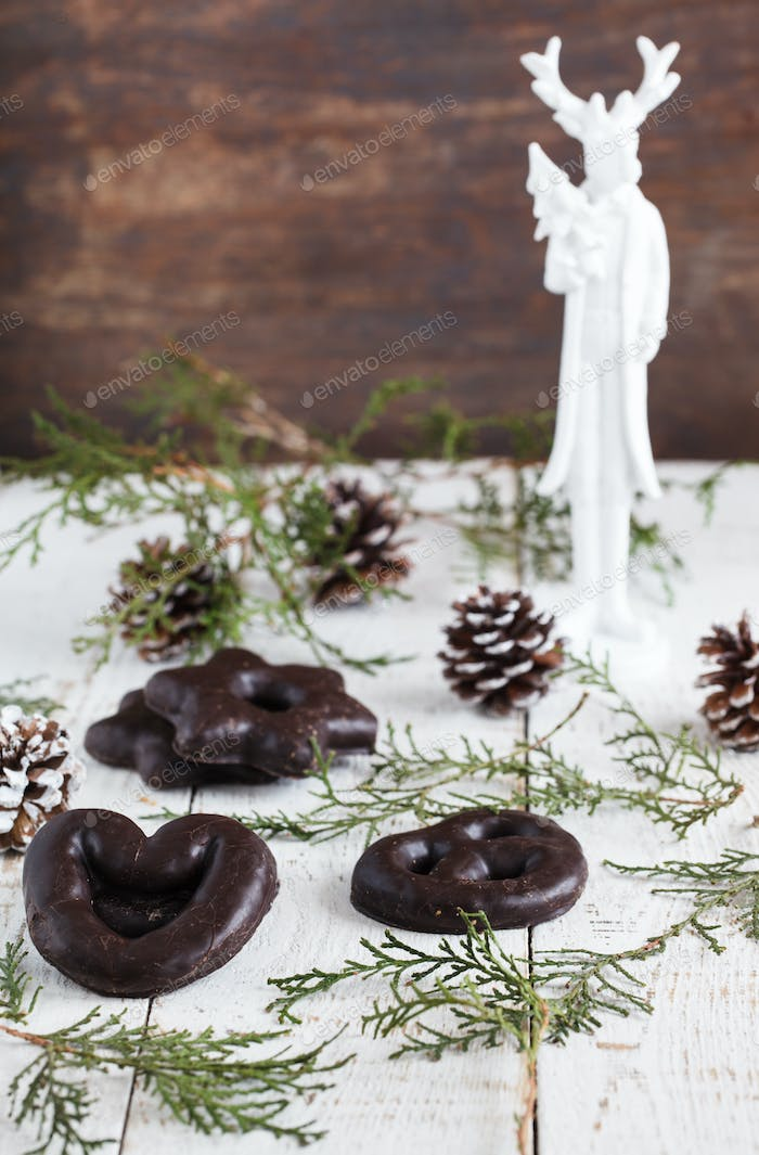 Christmas cakes in chocolate