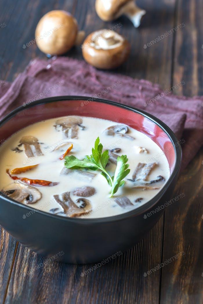 Bowl of thai tom kha soup