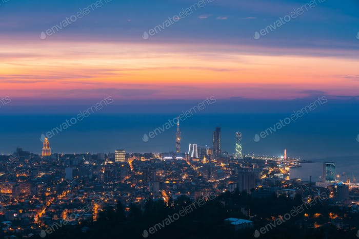 Batumi, Adjara, Georgia. Panorama, Aerial View Of Urban Cityscap