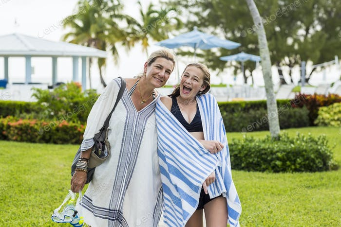 mother and her 13 year old daughter on vacation