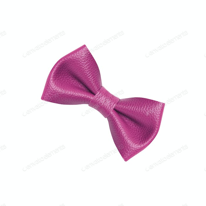 Violet ribbon bow tie isolated