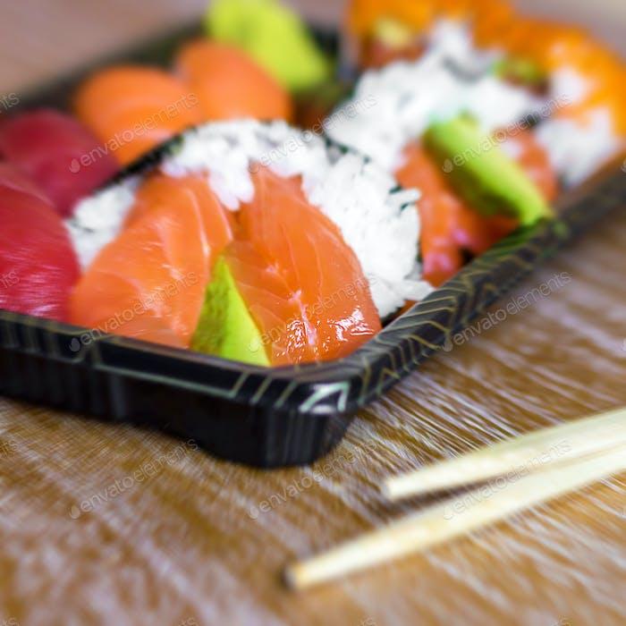 Japanische Meeresfrüchte Sushi