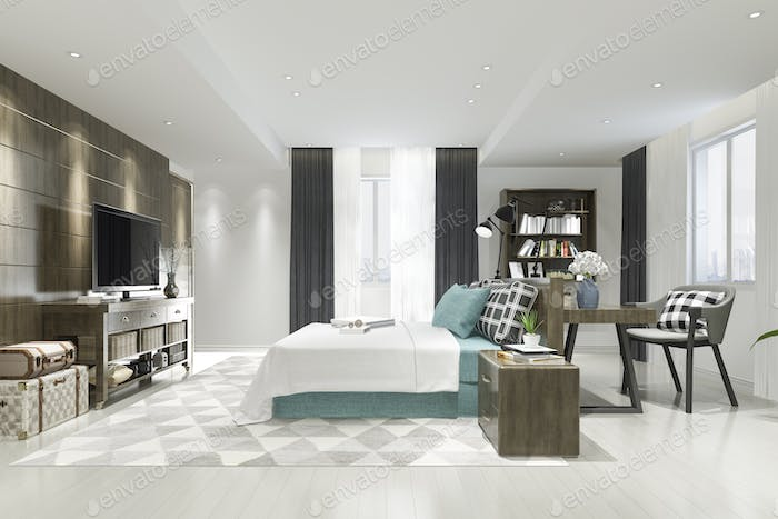 3d rendering beautiful luxury blue bedroom suite in hotel with tv and working table