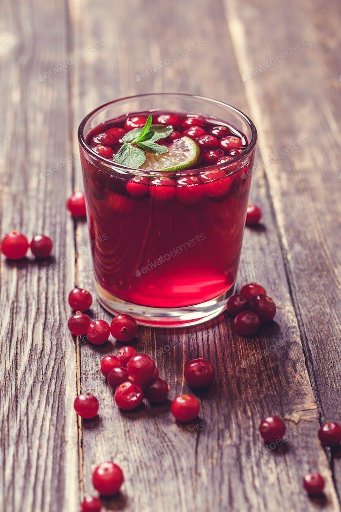 Glas Cranberry-Saft