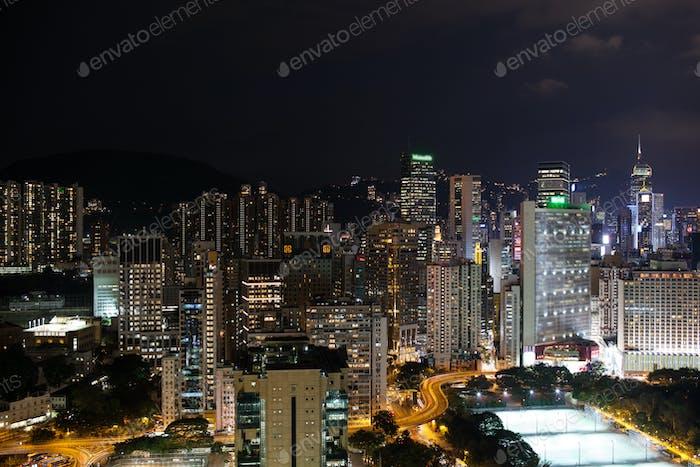 Night illuminated Hong Kong
