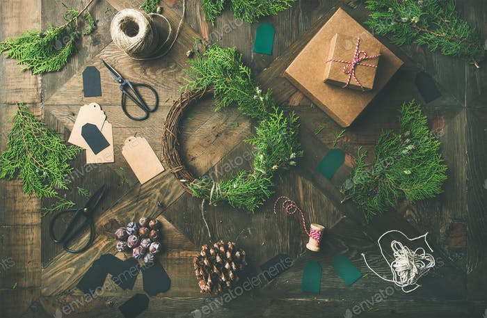 Flat-lay of Christmas and New Year decoration, wooden background