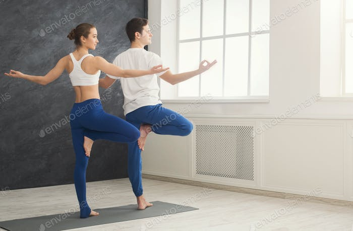 Couple training yoga in tree pose.